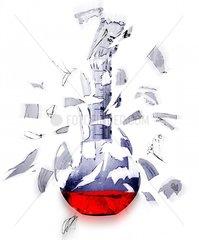 Laborgefaess Forschung Geplatzt Sprengung Glas Zersplittert
