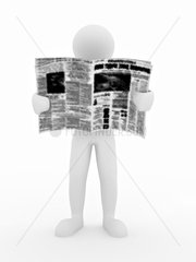 Man reading newspaper on white isolated background. 3d