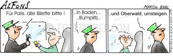 Serie Alfons Comicstrip Bahn