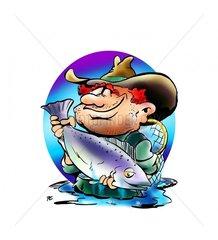Fischer mit Lachs