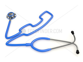 Stethoscope and a silhouette of phone. 3d