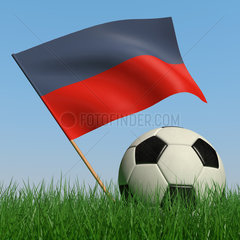 Soccer ball in the grass and the flag of Haiti against the blue sky. 3d