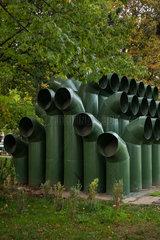 Sofia  Bulgarien  Lueftungsrohre am Nationalen Kulturpalast NDK