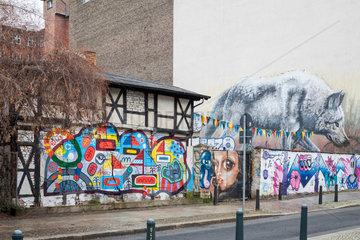 Berlin  Deutschland  Fachwerkhaus in der Templiner Strasse Ecke Schwedter Strasse in Prenzlauer Berg