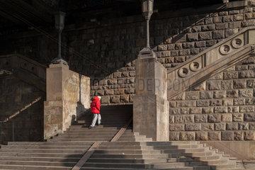 Belgrad  Serbien  Treppenaufgang unter der Brankov Most