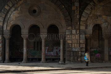 Belgrad  Serbien  Saeulen unter der Brankov Most