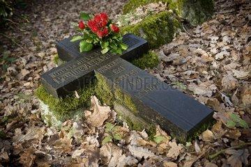 Altes Grabkreuz mit einem Strauss Rose