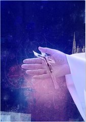 Kirche Papst Kreuz Hand Symbol