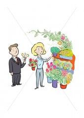 Blumenladen Mann Verkaeuferin