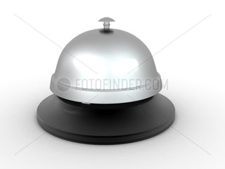 Hotel bell on white isolated background. 3d