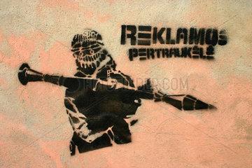 mortar street art in Vilnius