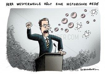 Guido Westerwelle Rede Seifenblasen