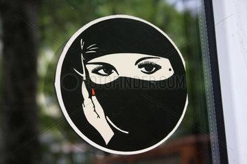 Schwarze Niqab Aufkleber