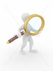 Searching. Men with loupe on white isolated background. 3d