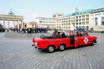 red stretch Trabi at Brandenburger Tor