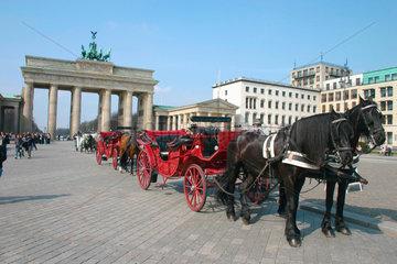 Pferdekutsche vor dem Brandenburger Tor.