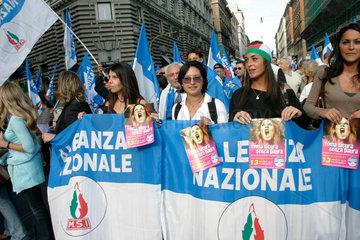 Rome- Demonstration der Rechts Partei Alleanza Nazionale