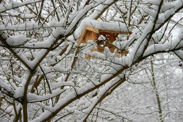 Vogelhaus in eine Schneelandschaft