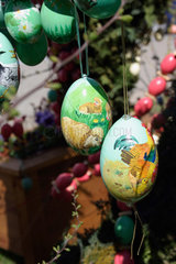 Reicherdshofen. easter eggs decorations in a bavarian village