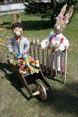 Reicherdshofen. easter eggs decorations in a bavarian village