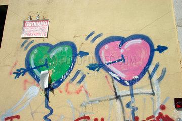 heart Amor and graffiti
