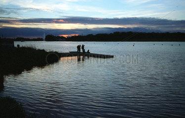 Poznan  Polen: Sonnenuntergang am Maltasee