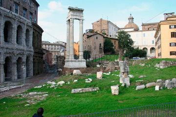 Italy - Rome. Saeule vor dem Teatro Marcello