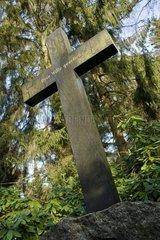 Altes Grabkreuz auf dem Ohlsdorfer Friedhof in Hamburg
