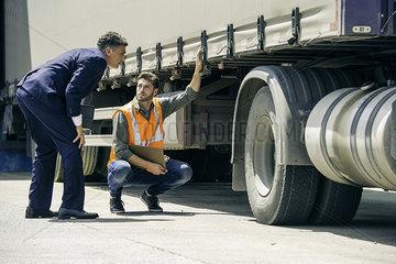 Examining lorry
