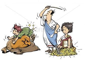 Serie Schulbuch altes Rom Schulunterricht Pruegel 2