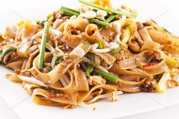 Pad Thai on the white plate