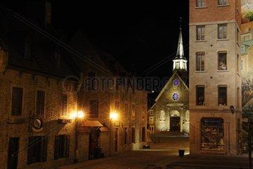 Place Royal und die eglise Notre-Dame-des-Victoires  Quebec Stadt in der historischen Altstadt von Quebec Stadt