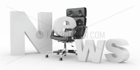 Text news with emty office armchair. 3d
