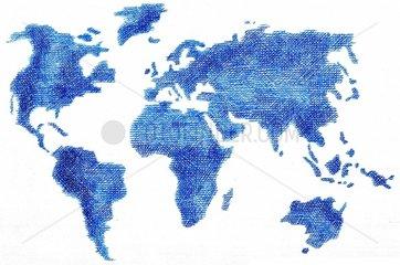 Weltkarte schraffiert