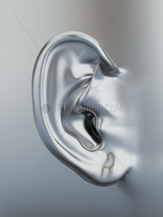 Three dimensional silver metallic human ear. 3d