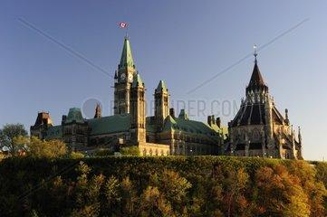 In Ottawa  der Hauptstadt Kanadas steht auf dem Parliament Hill das Regierungsgebaeude  Ottawa- Kanada