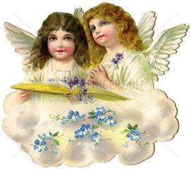 zwei Engelchen auf einer Wolke  1908