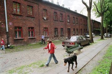 Alltagsszene in einer Arbeitersiedlung in Lodz  Polen