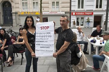 Protestaktion fuer Aussenbestuhlung am Hansaplatz