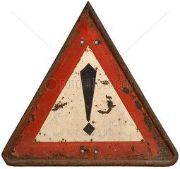 Vorsicht Gefahrenstelle  Verkehrsschild  1927