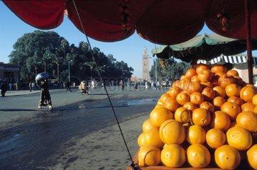 Orangenverkauf in Marrakesch