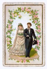 Brautpaar  Hochzeitskaertchen  1887