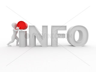 Men with text info on white isolated background. 3d