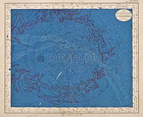 Noerdlicher Sternenhimmel mit Tierkreiszeichen  1860