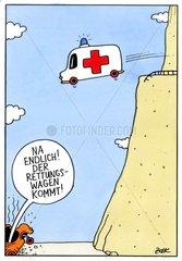 Der Rettungswagen kommt