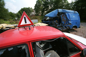 Autowracks von einem Unfall