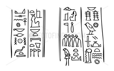 Egyptian hieroglyphs with names of Isis and Osiris in Karnak temple.