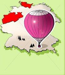 Heissluftballon ueber Deutschland