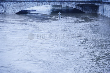 Rising waters during a period of flooding in the Seine River  Paris  France