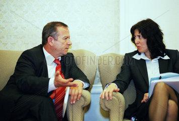 Bulgarische Parlamentarier diskutieren waehrend einer Sitzungspause